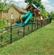 Aluminum Fence, Flat-top w/Cannonball Posts & Scrolls