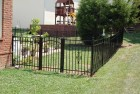 Aluminum Flat-Top Fence w/Ball & Caps and Arched Gate