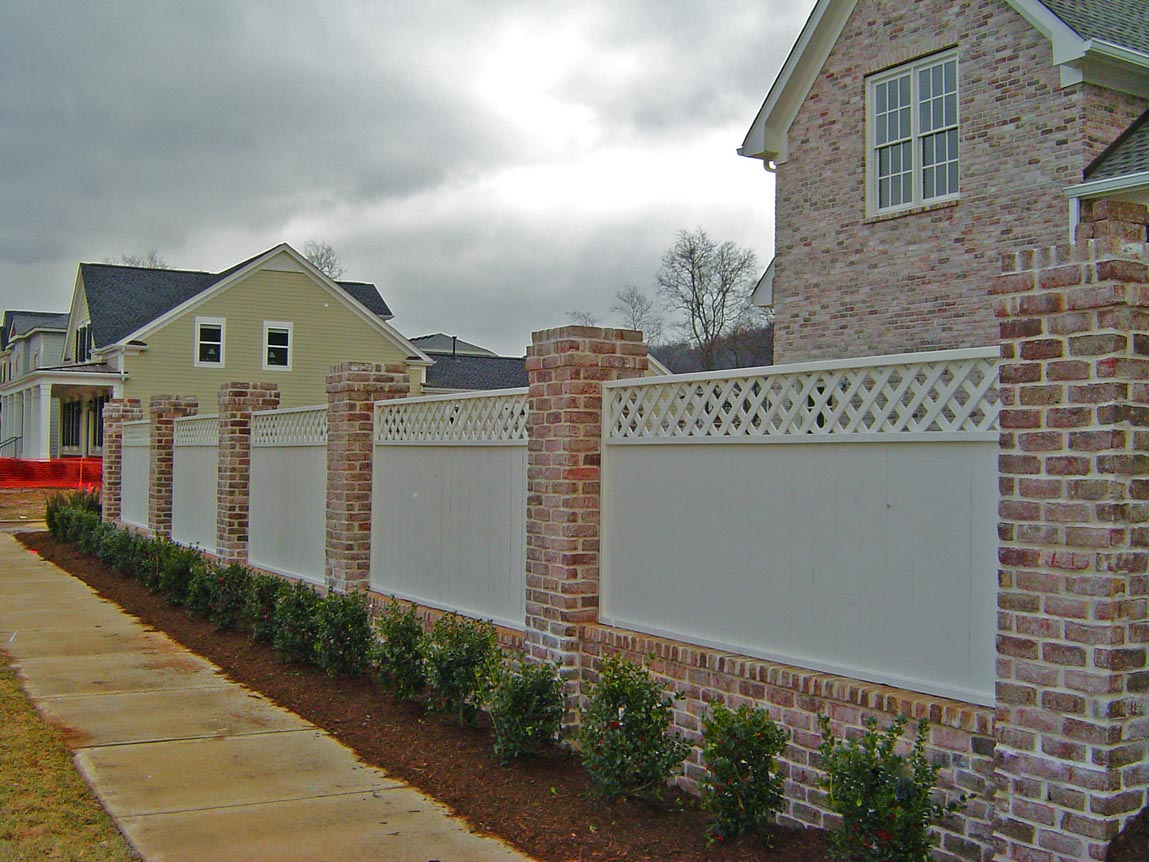 Wood Privacy Fence & Brick Columns