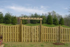 Wood Shadowbox Fence, Scalloped w/Arbor