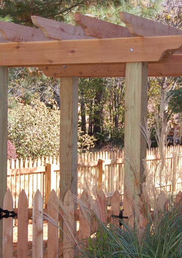 Wood Spaced Picket Fence and Arbor