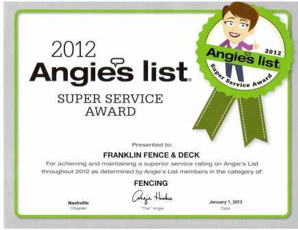 Angie's List 2012 Service Award